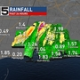 Weekend rainfall totals for the Central Gulf Coast