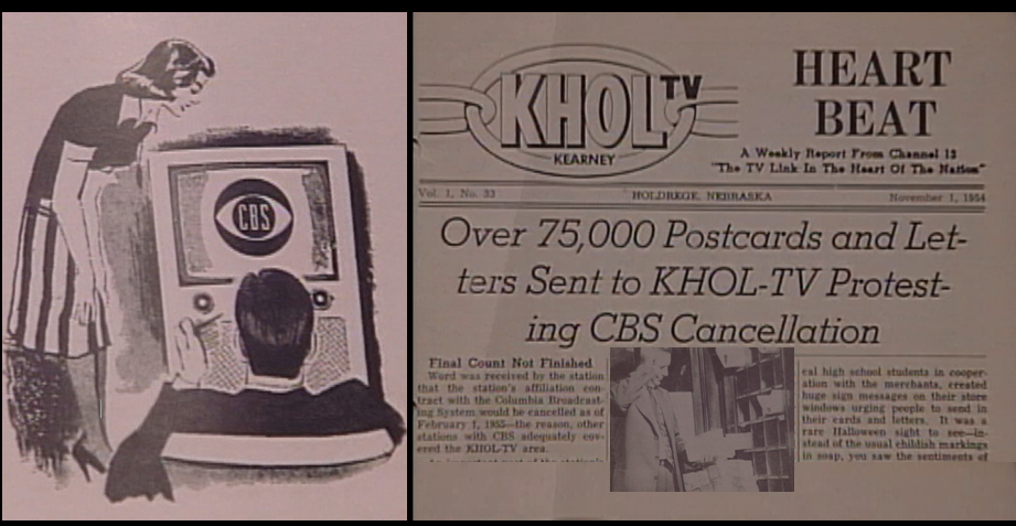 As the headline of this 1954 KHOL newsletter shows, 75,000 people wrote letters of protest after the station dropped its CBS affiliation. The stack of letters reached as high as the man's waist.