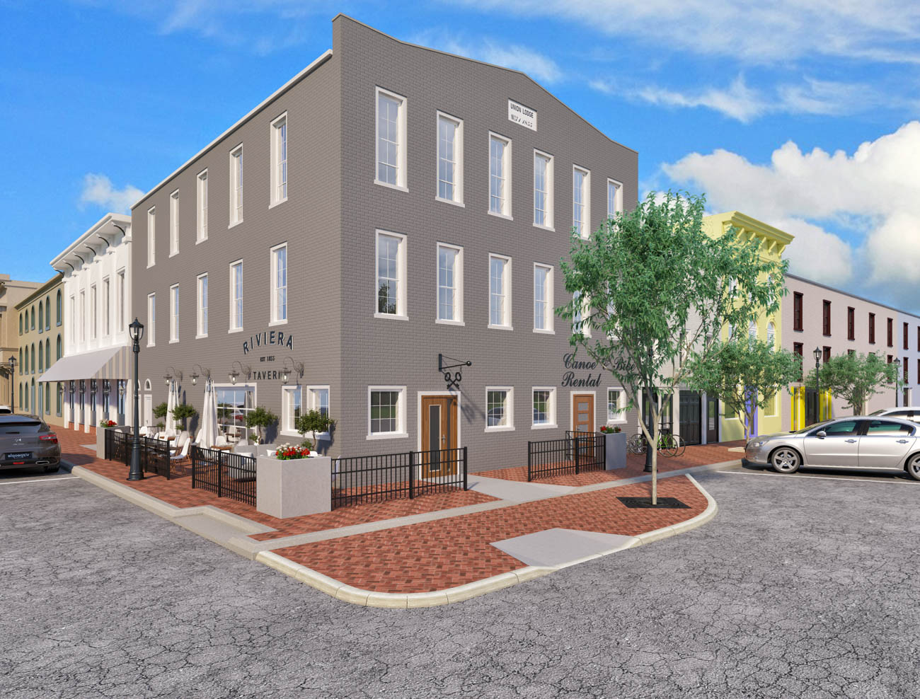 Officials in Ripley, Ohio are considering a proposed historic, mixed-use redevelopment. Oval Room Group provided renderings for a possible tavern and canoe rental shop on this corner lot. / Image courtesy of Oval Room Group // Published: 9.17.19