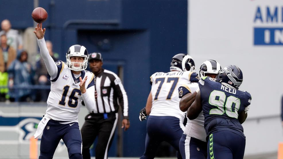Los Angeles Rams quarterback Jared Goff (16) passes against the Seattle  Seahawks during the first half of an NFL football game 002d3abd2