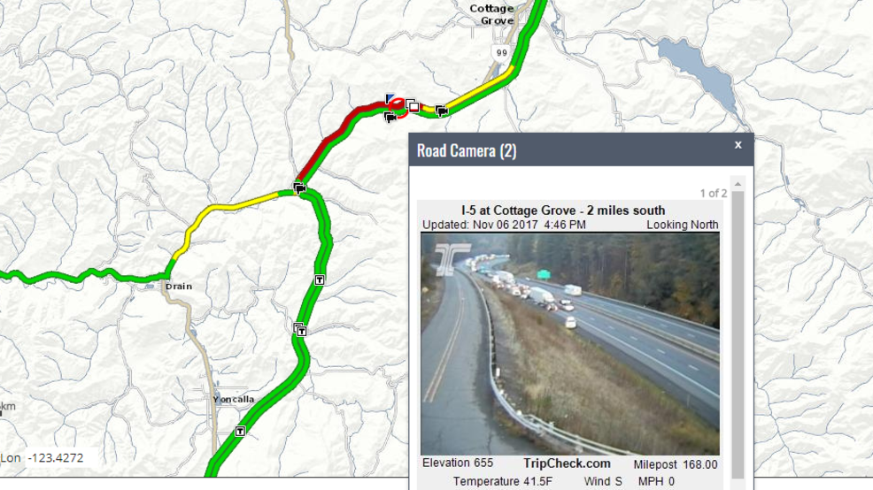Crash closes southbound I5 near Cottage Grove KVAL