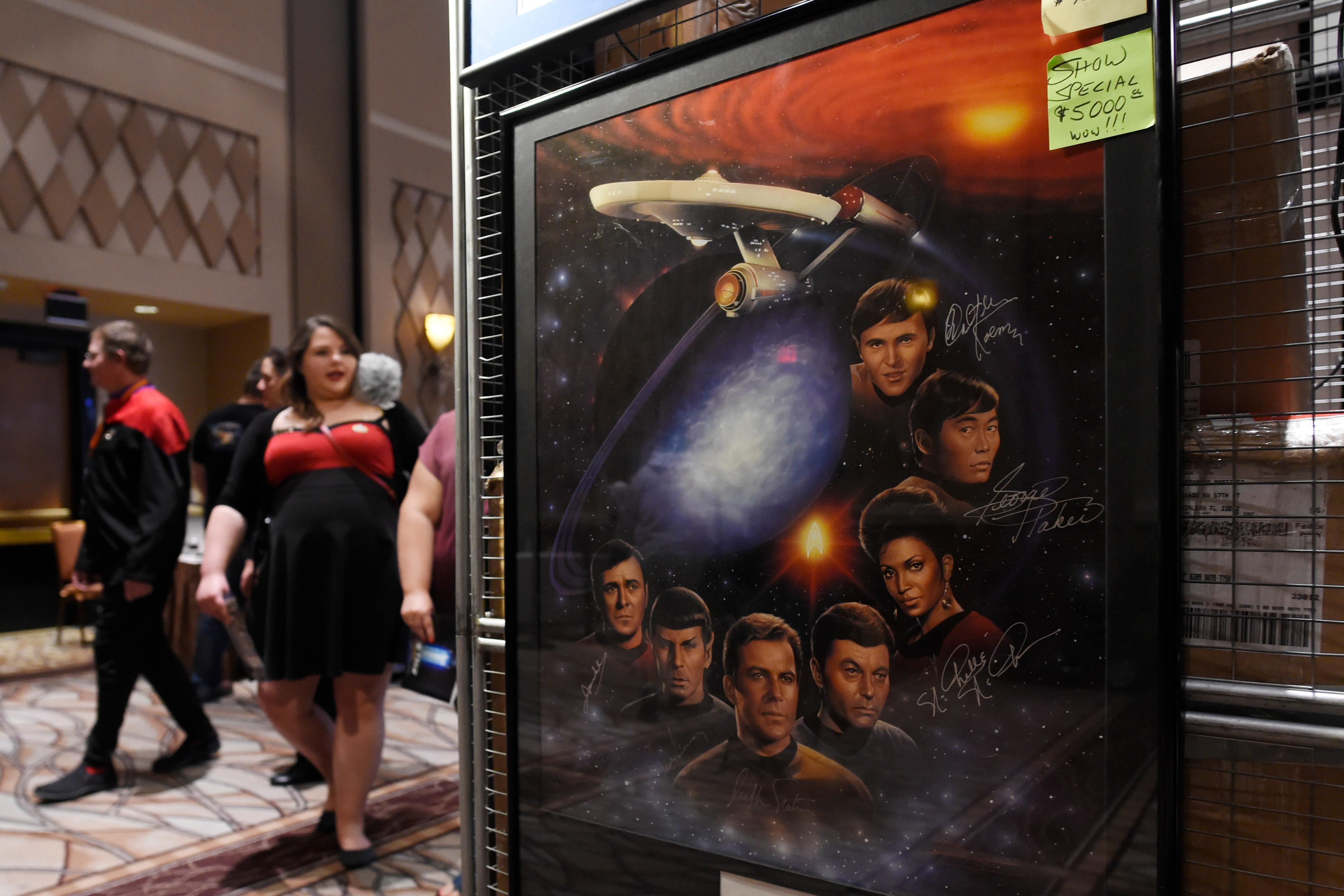 A poster signed by the original cast of Star Trek is seen on sale during the 16th annual Las Vegas Star Trek Convention Saturday, August 5, 2017, at the Rio.  CREDIT: Sam Morris/Las Vegas News Bureau