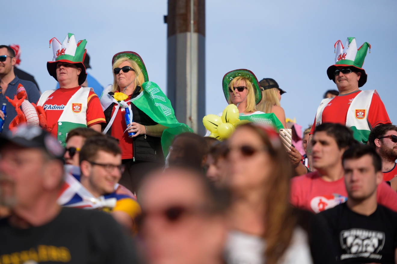 Fans of the Wales side watch their team take on South Africa during their match at the USA Sevens rugby tournament Saturday, March 4, 2017, at Sam Boyd Stadium. [Sam Morris/Las Vegas News Bureau]