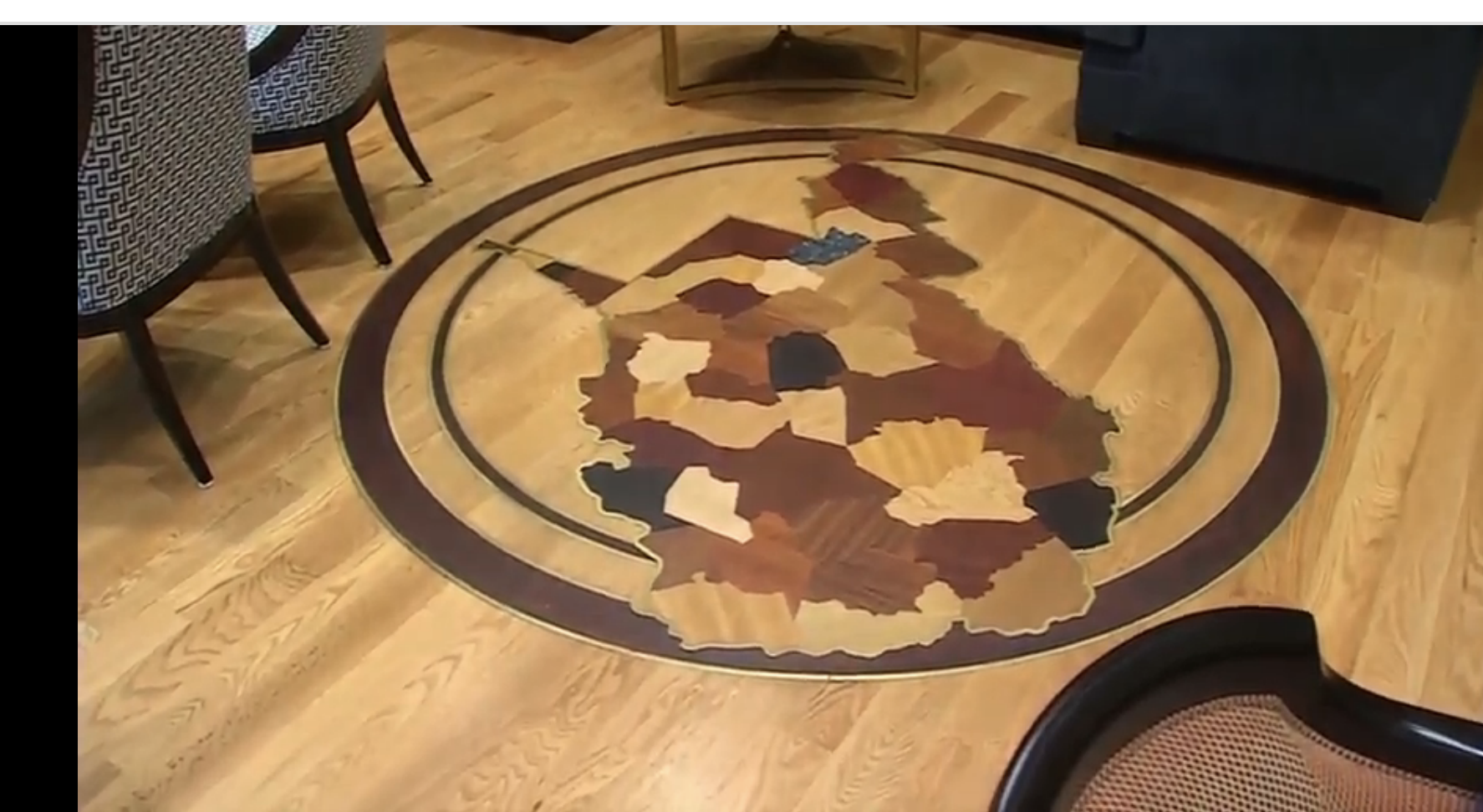 Photo shows the wood medallion on the floor of West Virginia Supreme Court Chief Justice Allen Loughry's chambers. (WCHS/WVAH)<p></p>