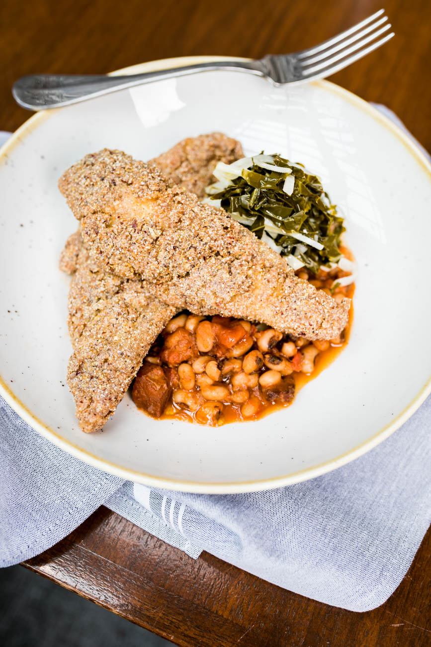 Blue Corn Fried Catfish served with pickled collard green slaw and smothered black-eyed peas / Image: Amy Elisabeth Spasoff // Published: 4.23.18