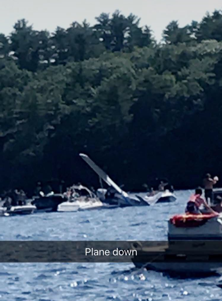 A seaplane crashed into Brandy Pond in Naples Saturday afternoon. CTSY: Alexandra Craig