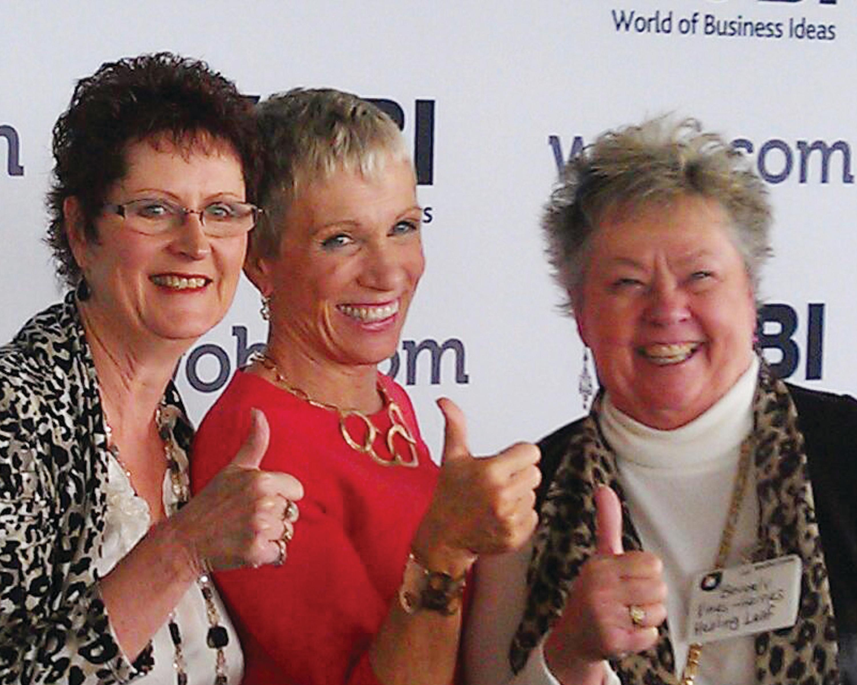 Ice Chip Candy's founder Beverly Vines Haines and Charlotte Clary pose with Shark Tank's Barbara Corcoran. Image Courtesy of Beverly Vines Haines and Charlotte Clary.<p></p>