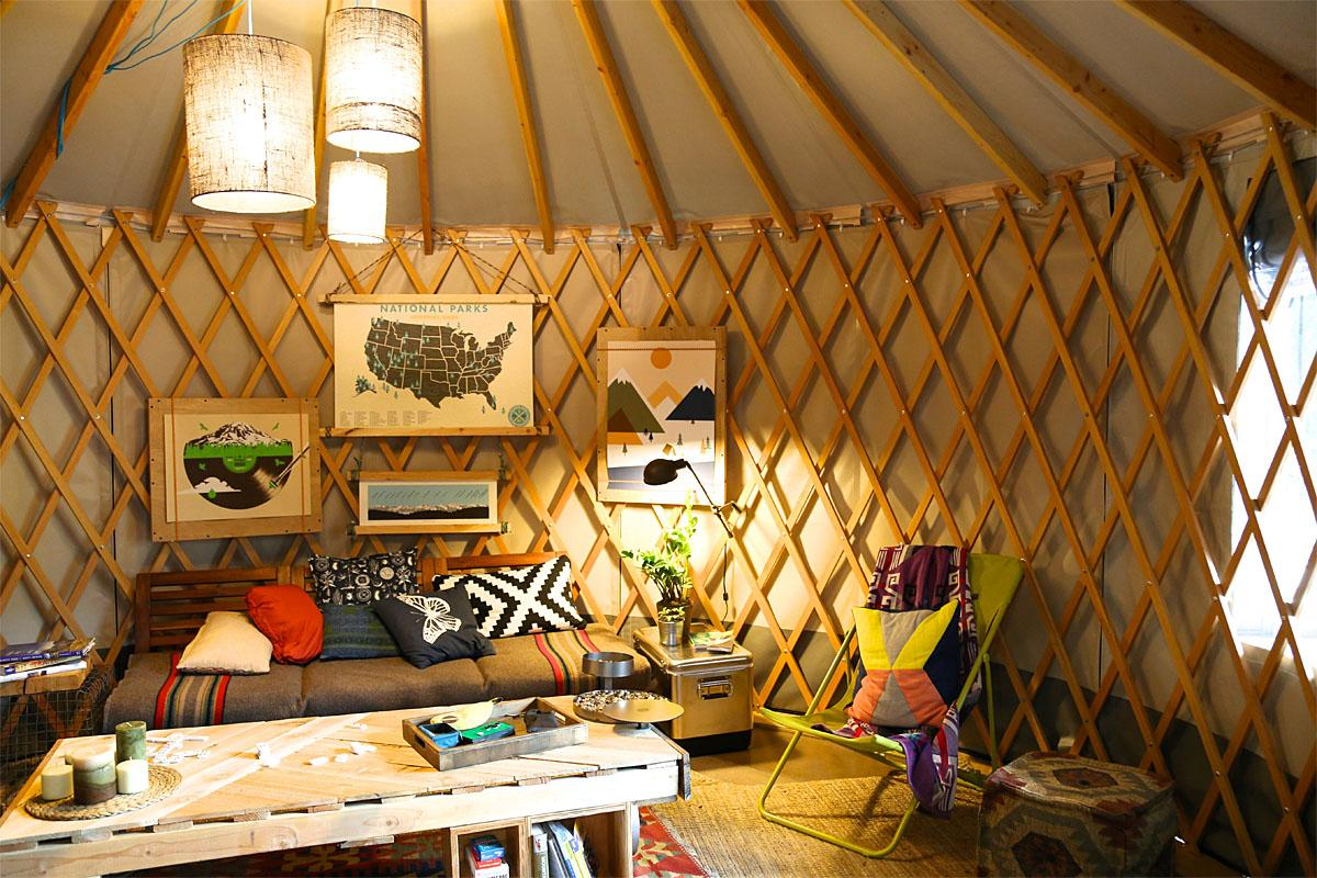 If you want to take your camping to a new level and have a semi-permanent place you can set up shop, a yurt is right up your alley. The standard size is 16' in diameter and has 7? 4? walls, picture windows and a full size door. The options are unlimited when it comes to the yurt! Check out all the options here. (Image: Kristi Waite/Seattle Refined)