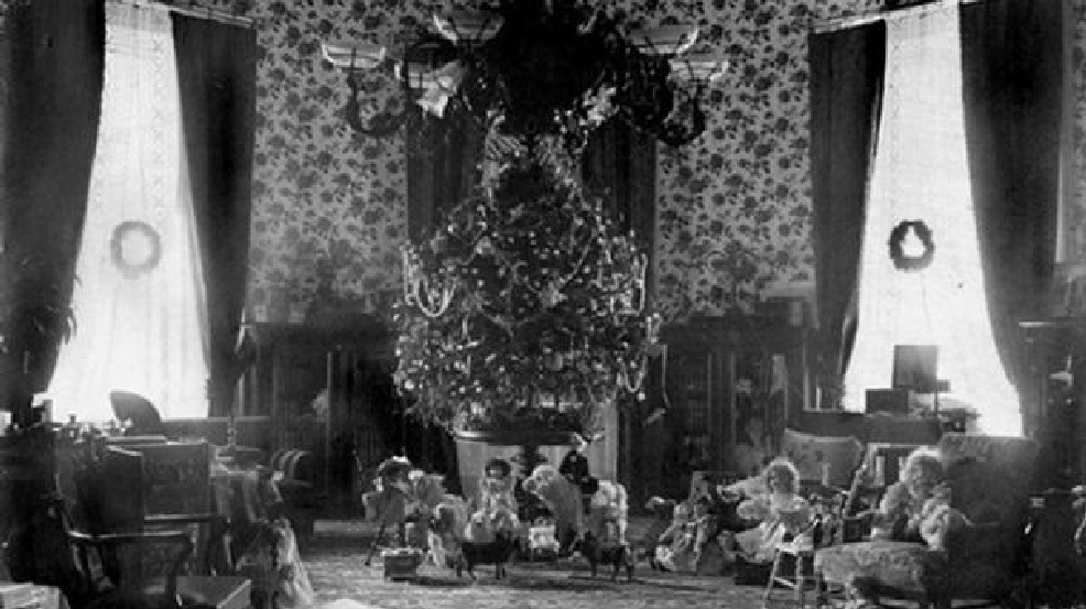 This Is The Cleveland Family Christmas Tree From 1896. In 1895, The First  Family Strung Electric Lights On Their Christmas Tree. Photo: White House  ...