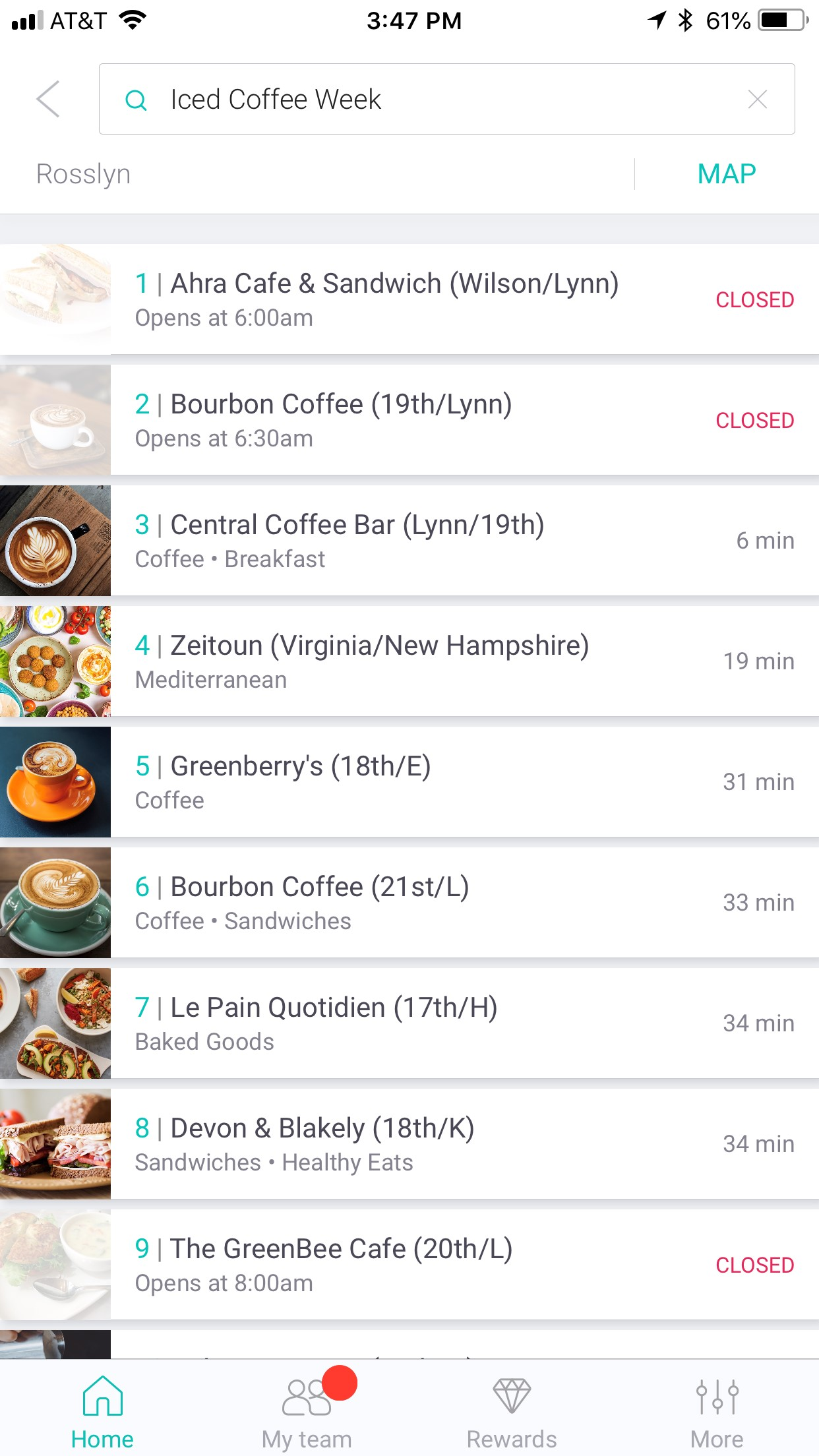 Login and search 'Iced Coffee Week&quot; to see the participants and choose a location. Once you check out, the app will tell you when your order is ready for pick up. (Image: Screenshot by Laura Wainman)<p></p>