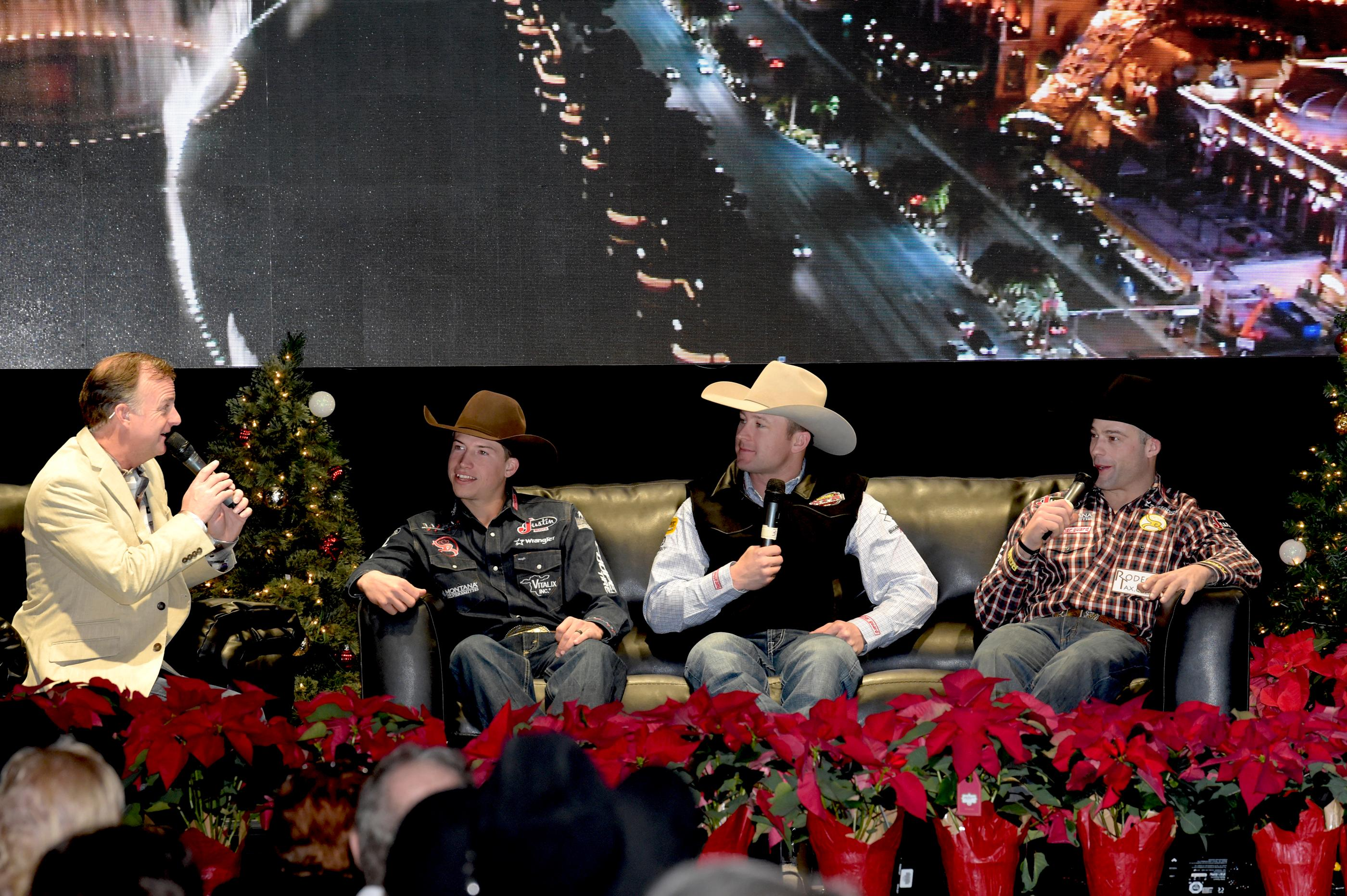 """Outside the Barrel"" with Flint Rasmussen as he interviews Bull Riders (l-r) Cody Webster, Nate Jestes and Dusty Tuckness during Cowboy Christmas on the Rodeo Live Stage at the Las Vegas Convention Center. Sunday December 10, 2017. [Glenn Pinkerton/Las Vegas News Bureau]"