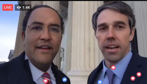 Bipartisan road trip: Republican Rep. Will Hurd and Democratic Rep. Beto O'Rourke reach U.S. capitol.