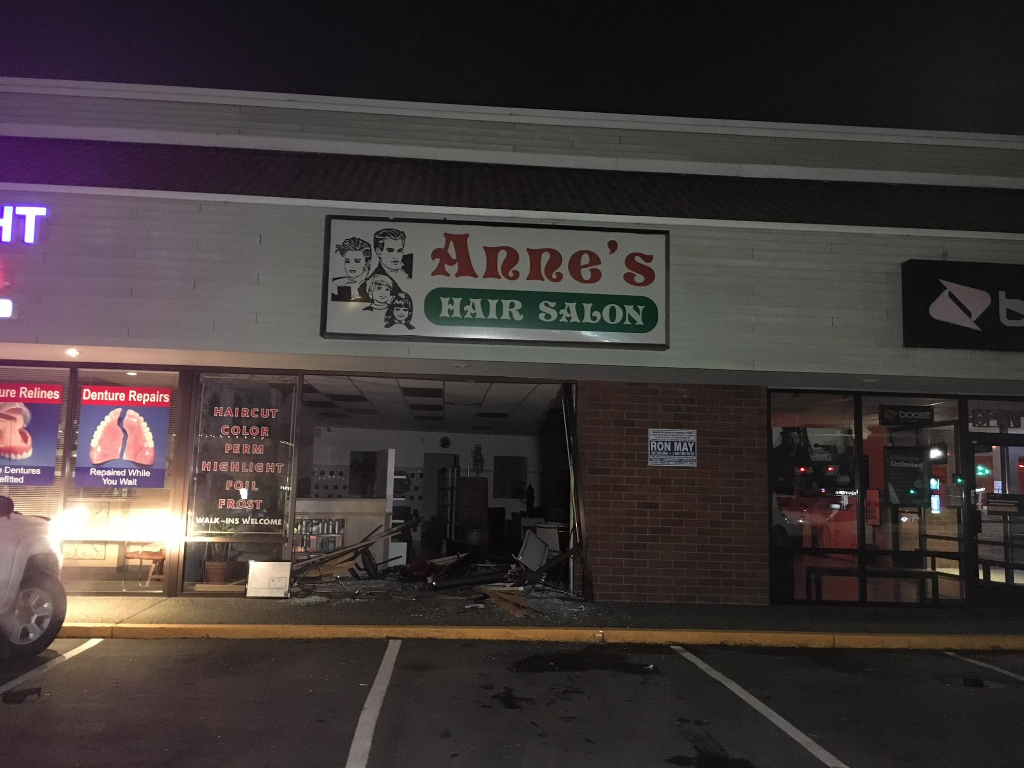 A suspected drunk driver damaged a business in Everett late Wednesday night. (Photo credit: Steven Miller)