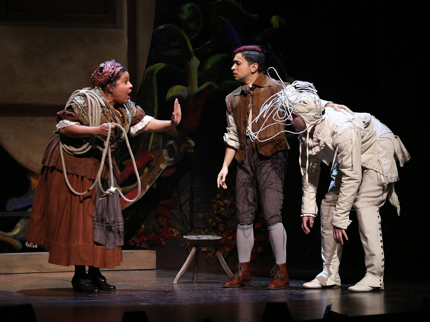 "Rayanne Gonzaeles as Jack's Mother, Samy Nour Yunes as Jack and Tiziano D'Affuso as Milky White in Ford Theatre's production of ""Into the Woods.""(Image: Carol Rosegg)<p></p>"
