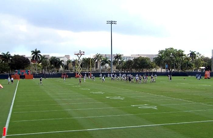 Notre Dame practice on Thursday at the Miami Dolphins training facility in Davie, Florida.