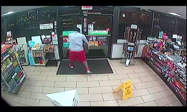The Broward County Sheriff's Office released video of a 7-Eleven clerk stabbing a robber on March 14, 2018, in Pompano Beach. (Broward County Sheriff's Office)
