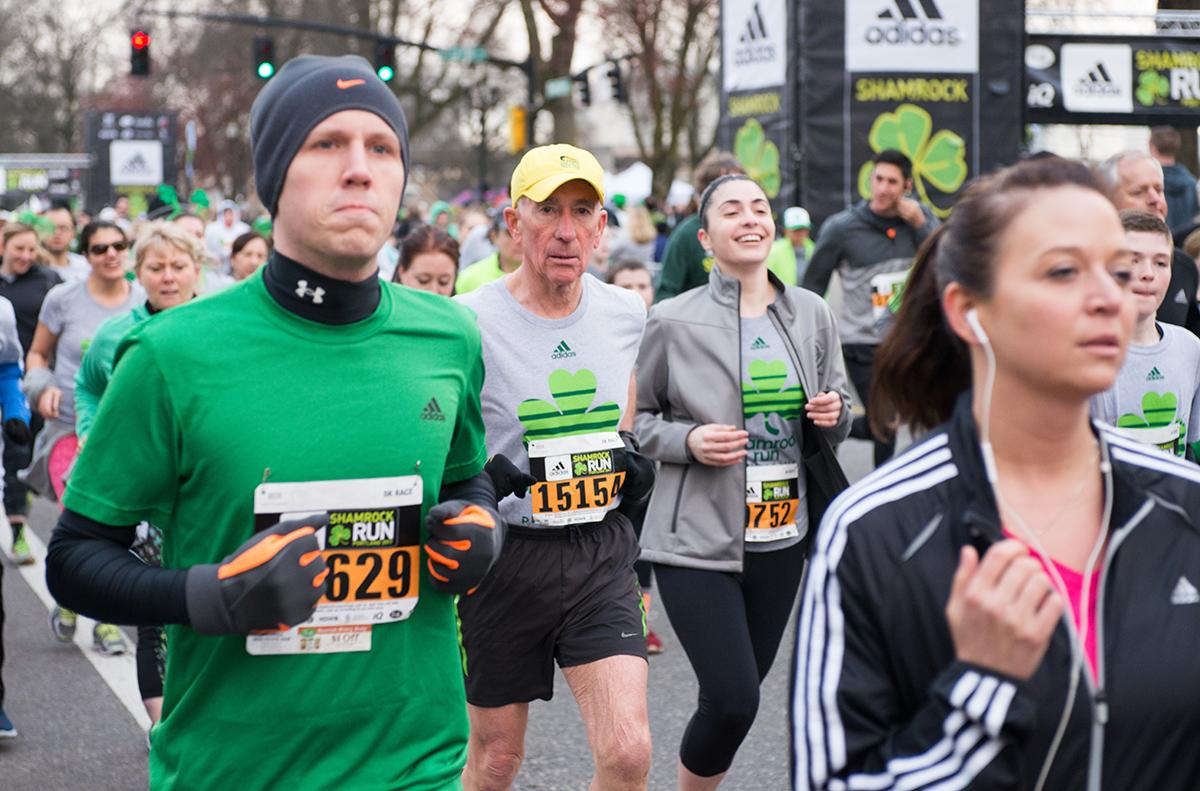 Thousands of green-clad runners filled Portland's Waterfront Park Sunday for the 39th annual Adidas Shamrock Run. The event has been called opening day for the running season and is the city's largest running event. (KATU photo taken 3/19/2017 by Tristan Fortsch)
