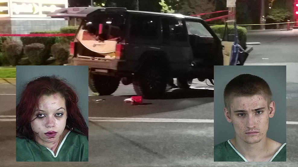 The driver who hit and killed a Eugene man early Thursday morning was driving the wrong-way on a one-way street while attempting to flee a sheriff's deputy, Eugene Police said. Police arrested the driver Brandi Gonzales (left) and her passenger, Colby Jongeward (right). (SBG and Lane County Jail photos)