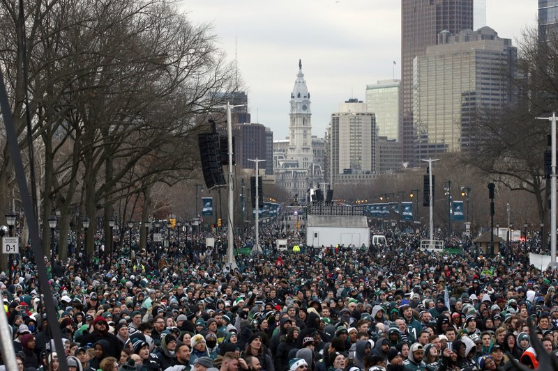 <p>Fans line Benjamin Franklin Parkway before a Super Bowl victory parade for the Philadelphia Eagles football team, Thursday, Feb. 8, 2018, in Philadelphia. The Eagles beat the New England Patriots 41-33 in Super Bowl 52. (AP Photo/Alex Brandon)</p>