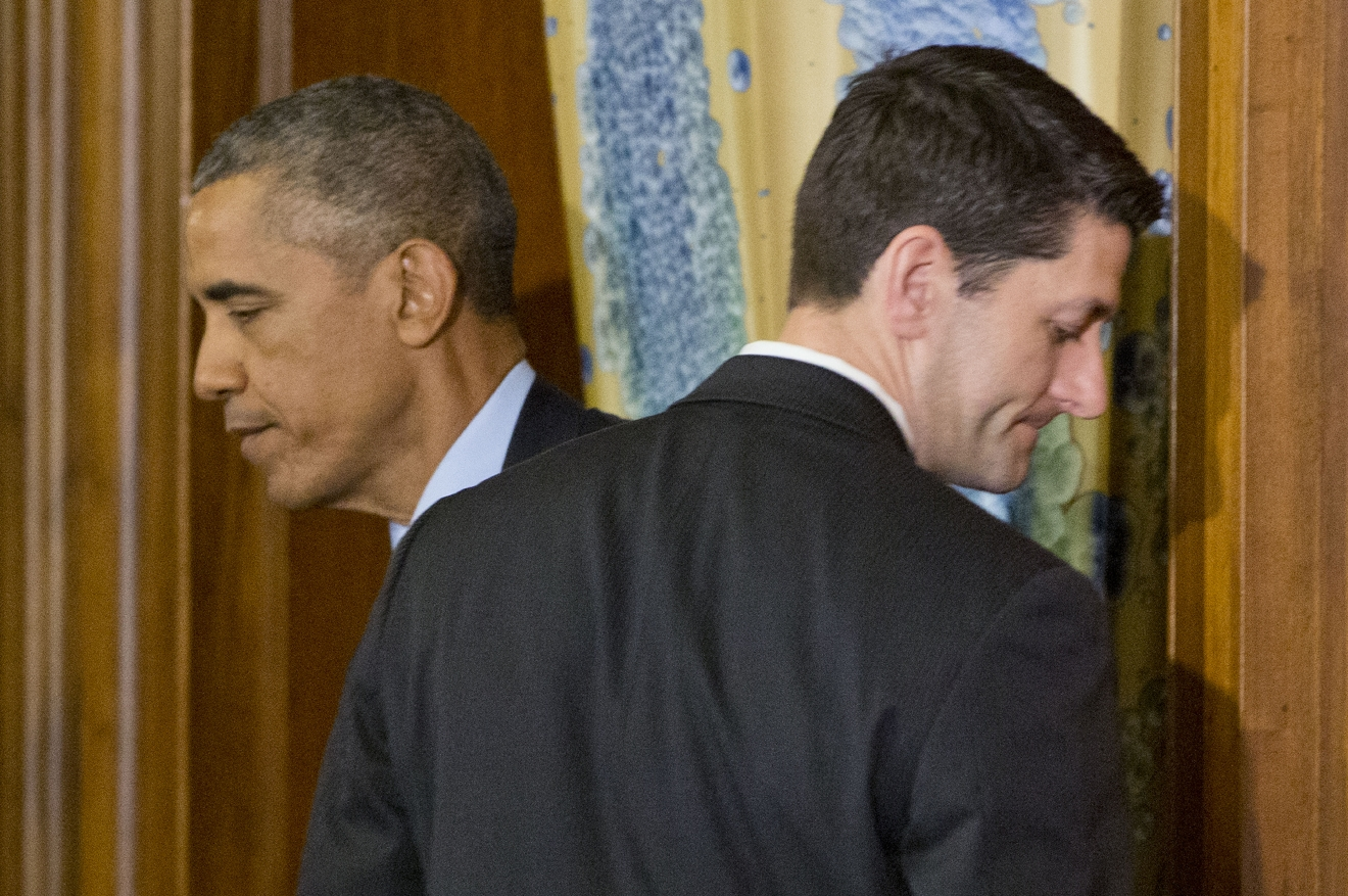 President Barack Obama, left, and House Speaker Paul Ryan of Wis., right, walk past each put during a lunch celebrating St. Patrick's Day for Irish Prime Minister Enda Kenny, on Capitol Hill in Washington, Tuesday, March 15, 2016. (AP Photo/Pablo Martinez Monsivais)