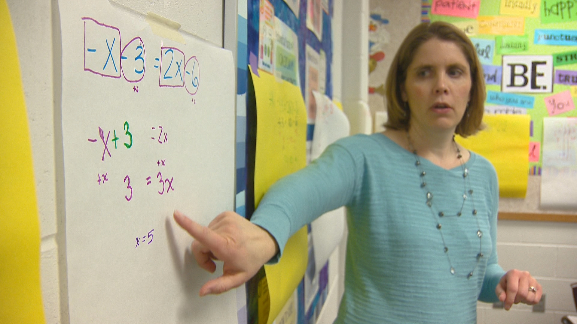 Golden Apple recipient, Adrienne Burns, teaches math in her classroom at De Pere Middle School. (WLUK)
