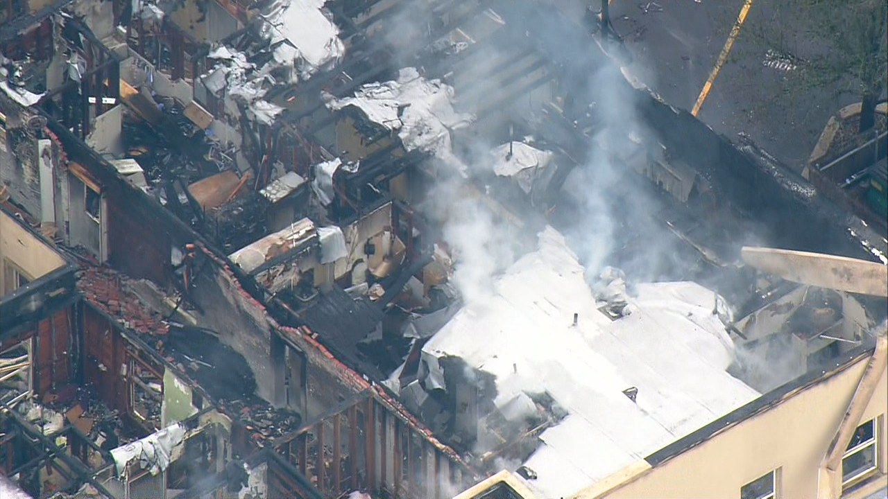 Video from Air 4 shows the damage left behind after a 3-alarm fire burned Auburn's Heritage Building (Photo: KOMO News)