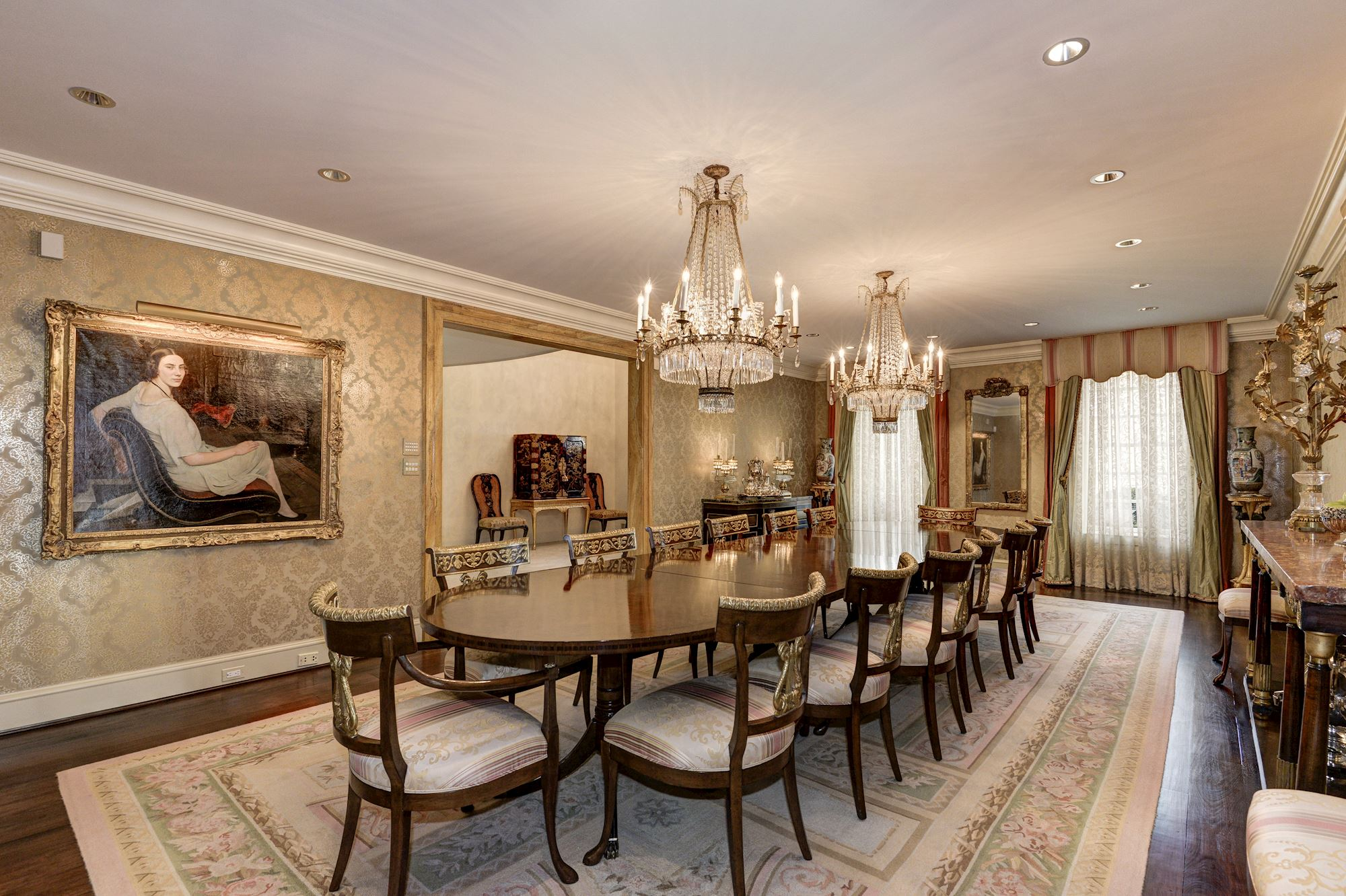 What will $18 million get you these days in D.C. real estate? Well according to this listing, its about 15,000-square-feet, 8 bedrooms, 13 bathrooms, a two-story foyer, a heated pool with a guest house, a{ } home theater and a temperature-controlled wine cellar. Who wants to help me set up a GoFundMe page for the lifestyle we deserve?? (Image: Courtesy HomeVisit)