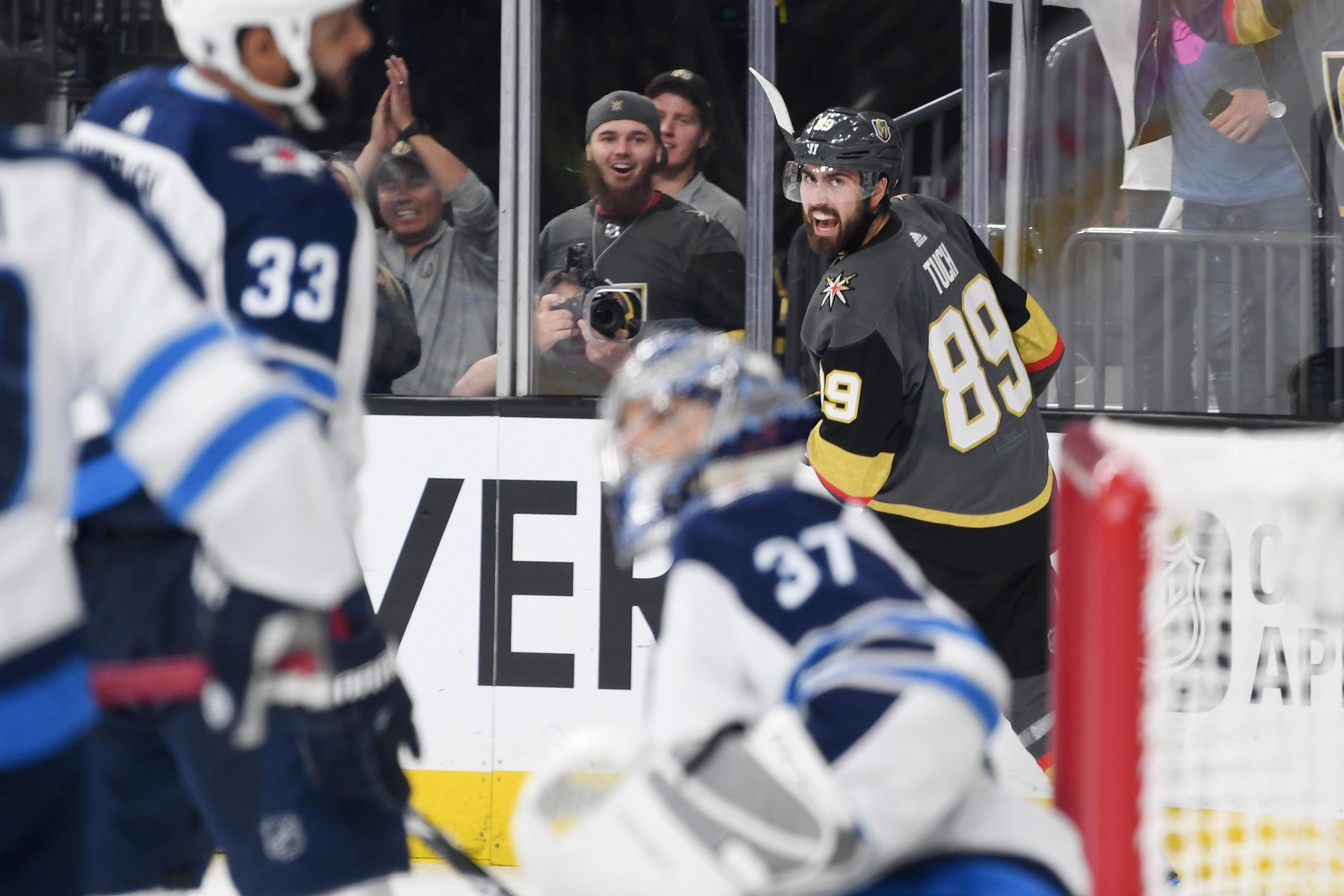Vegas Golden Knights right wing Alex Tuch (89) looks back after scorning against the Winnipeg Jets during Game 3 of their NHL hockey Western Conference Final game Wednesday, May 16, 2018, at T-Mobile Arena. CREDIT: Sam Morris/Las Vegas News Bureau