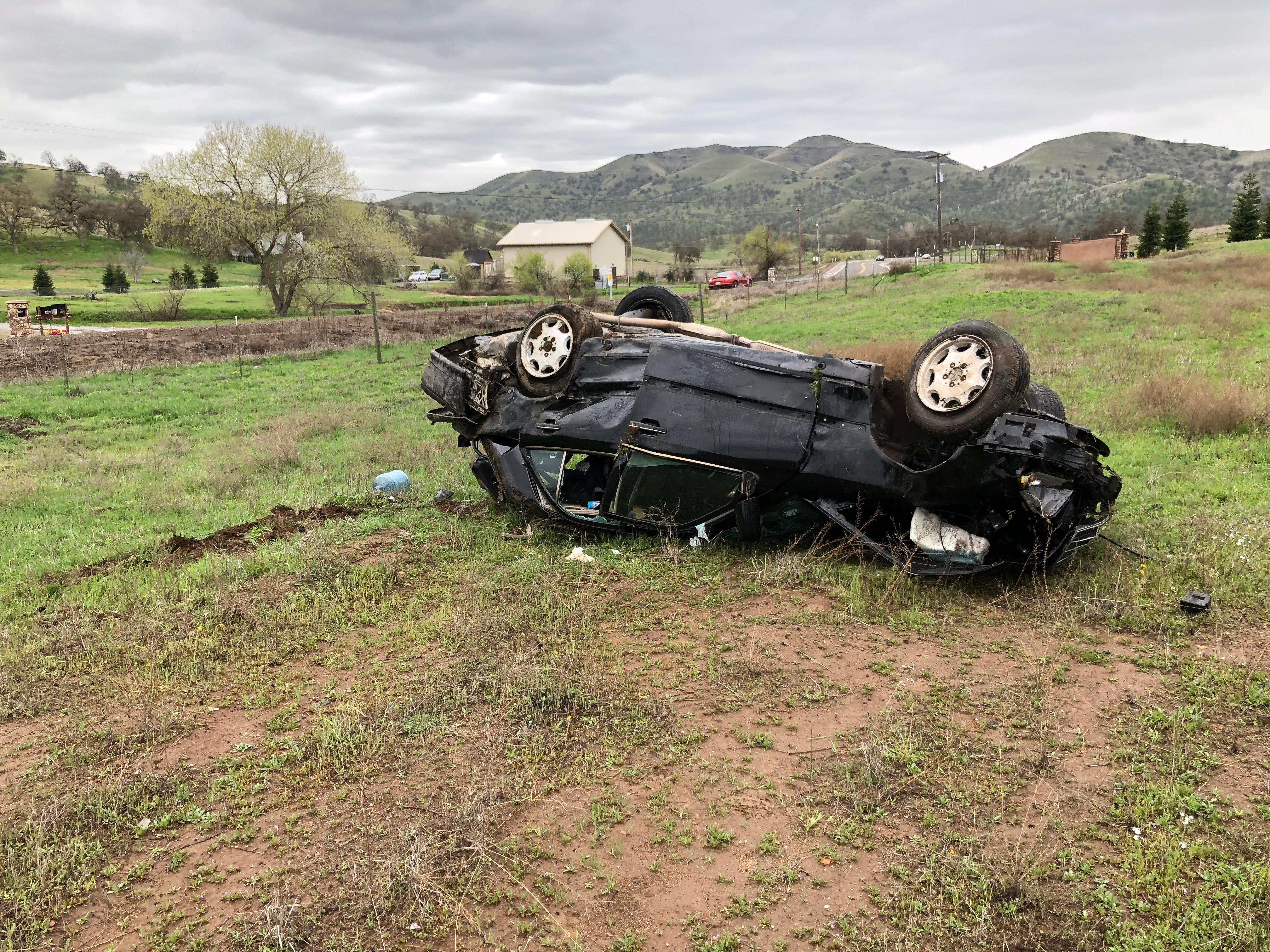 <p>Police say the man was driving on Auberry Road when he passed a big rig going the opposite direction. The wind pushed the car off the road causing the driver to lose control and roll several times into a field.</p>