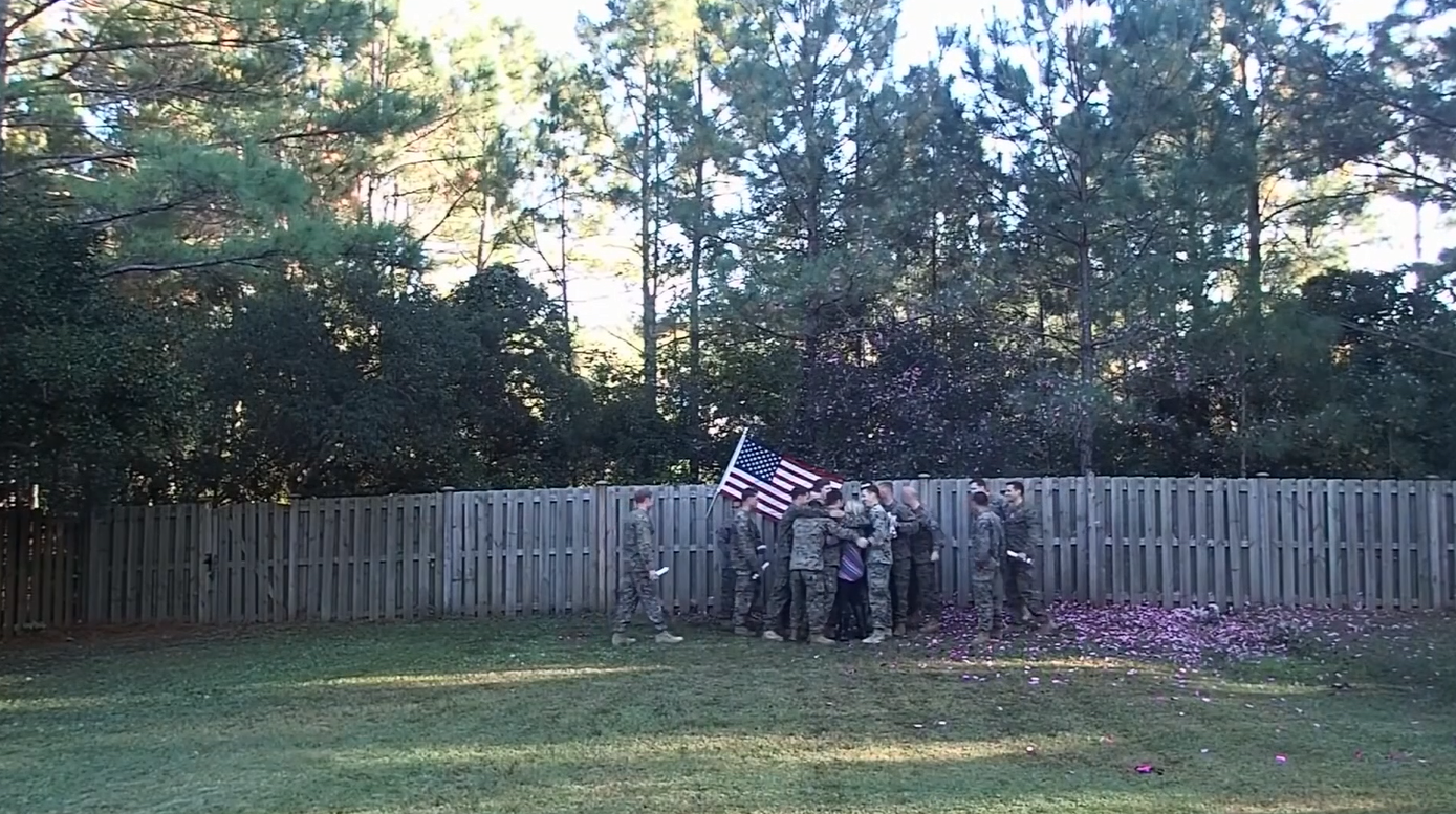 Cassie Lohrey found out that she was pregnant a week after burying her husband, Navy corpsman Ryan Lohrey, on Veterans Day, she held a gender reveal party surrounded by a group of Marine and Navy corpsmen who served with him (Photo: CNN Newsource)