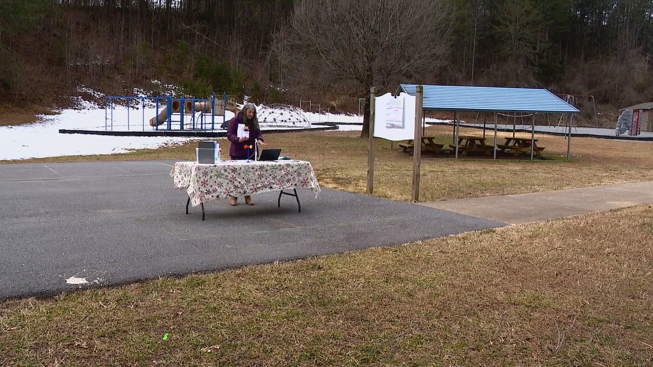 Renata Crawley set up an outdoor science lab to help with weather demonstrations for her students. (Photo credit: WLOS staff)