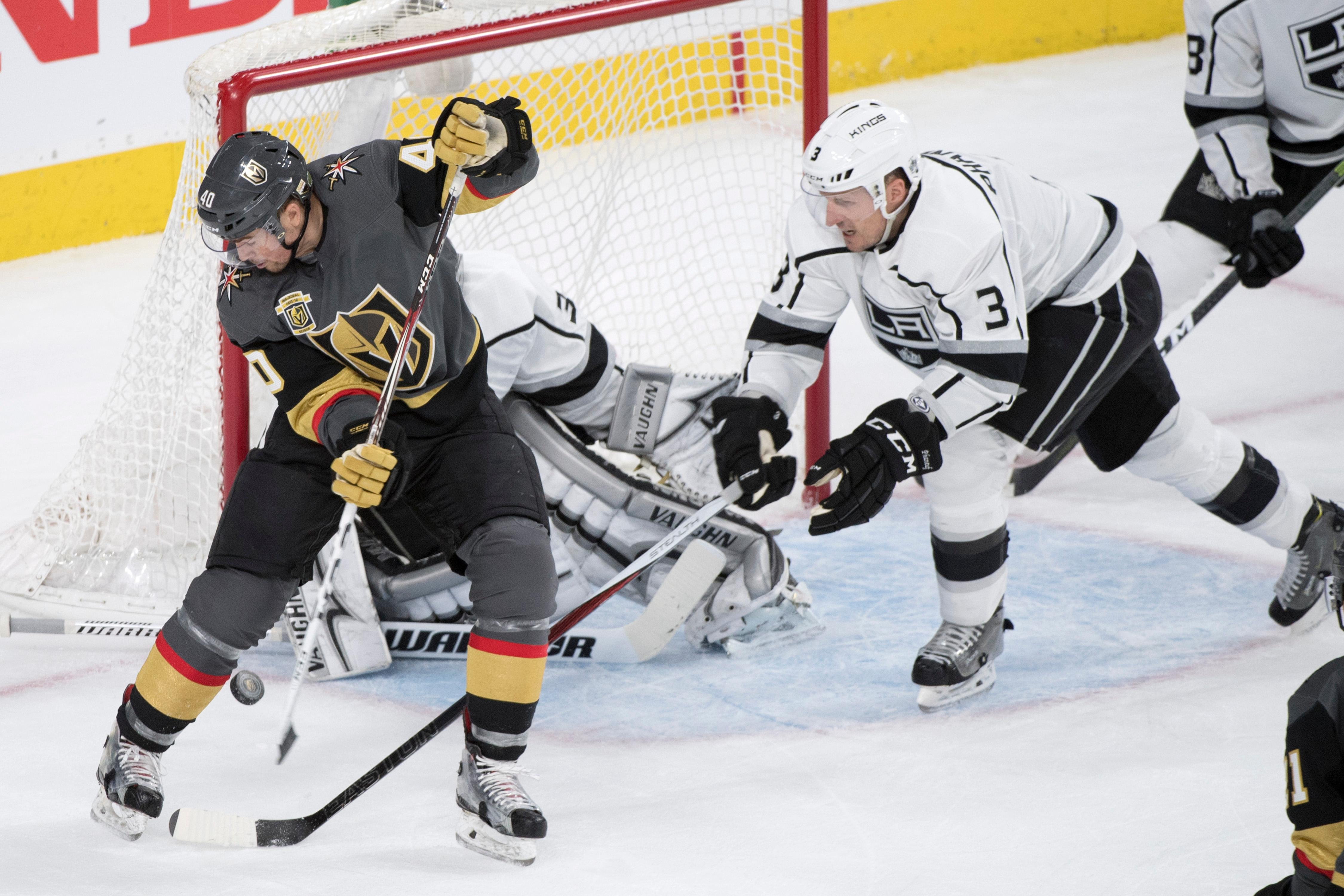 Vegas Golden Knights center Ryan Carpenter (40) attempts a backwards, between the leg shot against Los Angeles Kings goaltender Jonathan Quick (30) during the second period of Game 1 of their NHL hockey first-round playoff series Wednesday, April 11, 2018 at T-Mobile Arena. The Knights won 1-0. CREDIT: Sam Morris/Las Vegas News Bureau