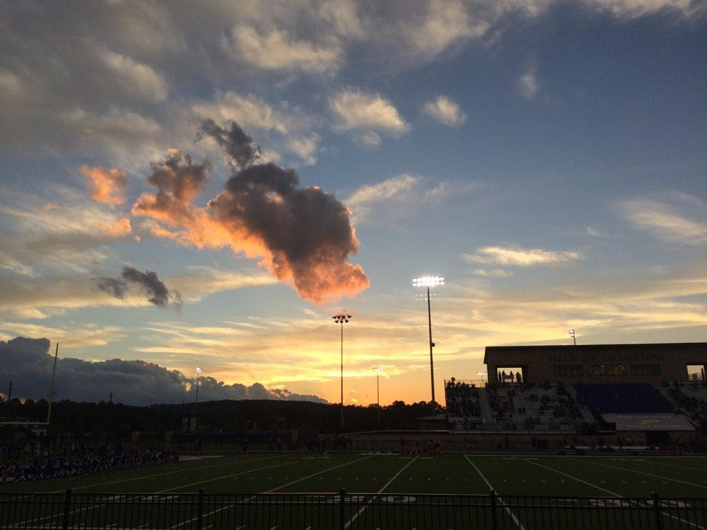 Sunset before kickoff between Piedmont at Pleasant Valley, Friday, Oct. 3, 2014.