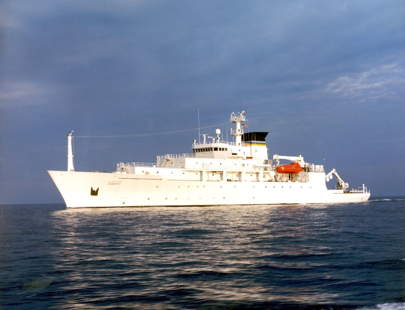 In this undated photo released by the U.S. Navy Visual News Service, the USNS Bowditch, a T-AGS 60 Class Oceanographic Survey Ship, sails in open water. (CHINFO, Navy Visual News via AP)