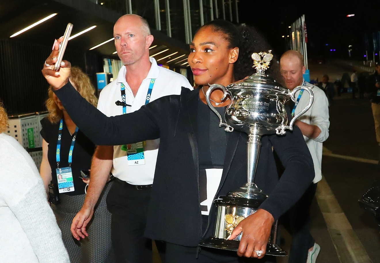 MELBOURNE, AUSTRALIA - JANUARY 28:  Serena Williams of the United States poses for a selfie photo with the Daphne Akhurst Memorial Cup after winning the 2017 Women's Singles Australian Open Championship at Melbourne Park on January 28, 2017 in Melbourne, Australia.  (Photo by Scott Barbour/Getty Images)