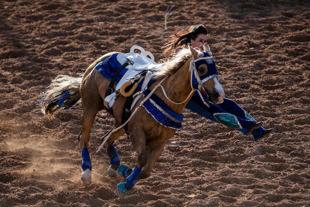 A trick rider performs during day one of the Las Vegas Days Rodeo at the Plaza Hotel CORE Arena on Friday May 10, 2019. Las Vegas Days, formerly known as Helldorado Days, is an annual cowboy-themed event celebrating Las Vegas? tribute to the Wild West. CREDIT: Joe Buglewicz/Las Vegas News Bureau