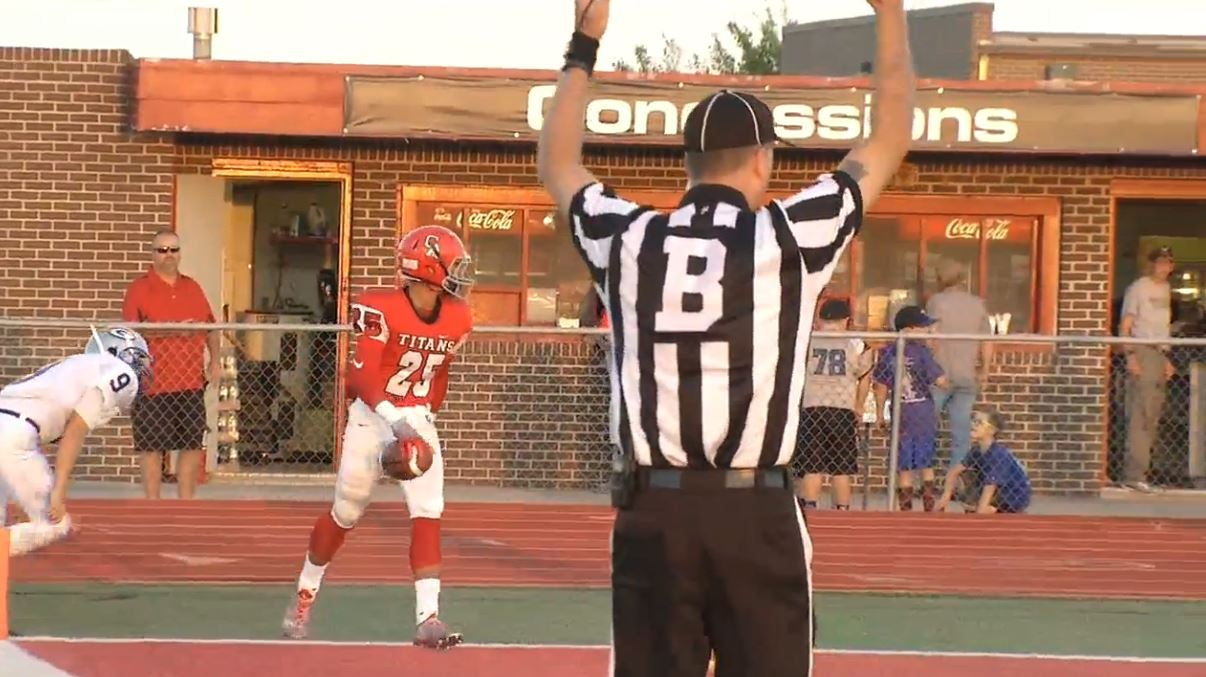 Jason Taylor after making a touchdown during the Guthrie at Carl Albert game on Friday, Sept. 23, 2016. (KOKH)