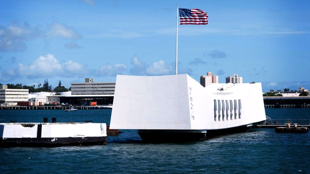 The USS Arizona Memorial which sits above the remains of the USS Arizona in Pearl Harbor, Hawaii. (Pearl Harbor Oahu/Facebook/MGN)<p></p>