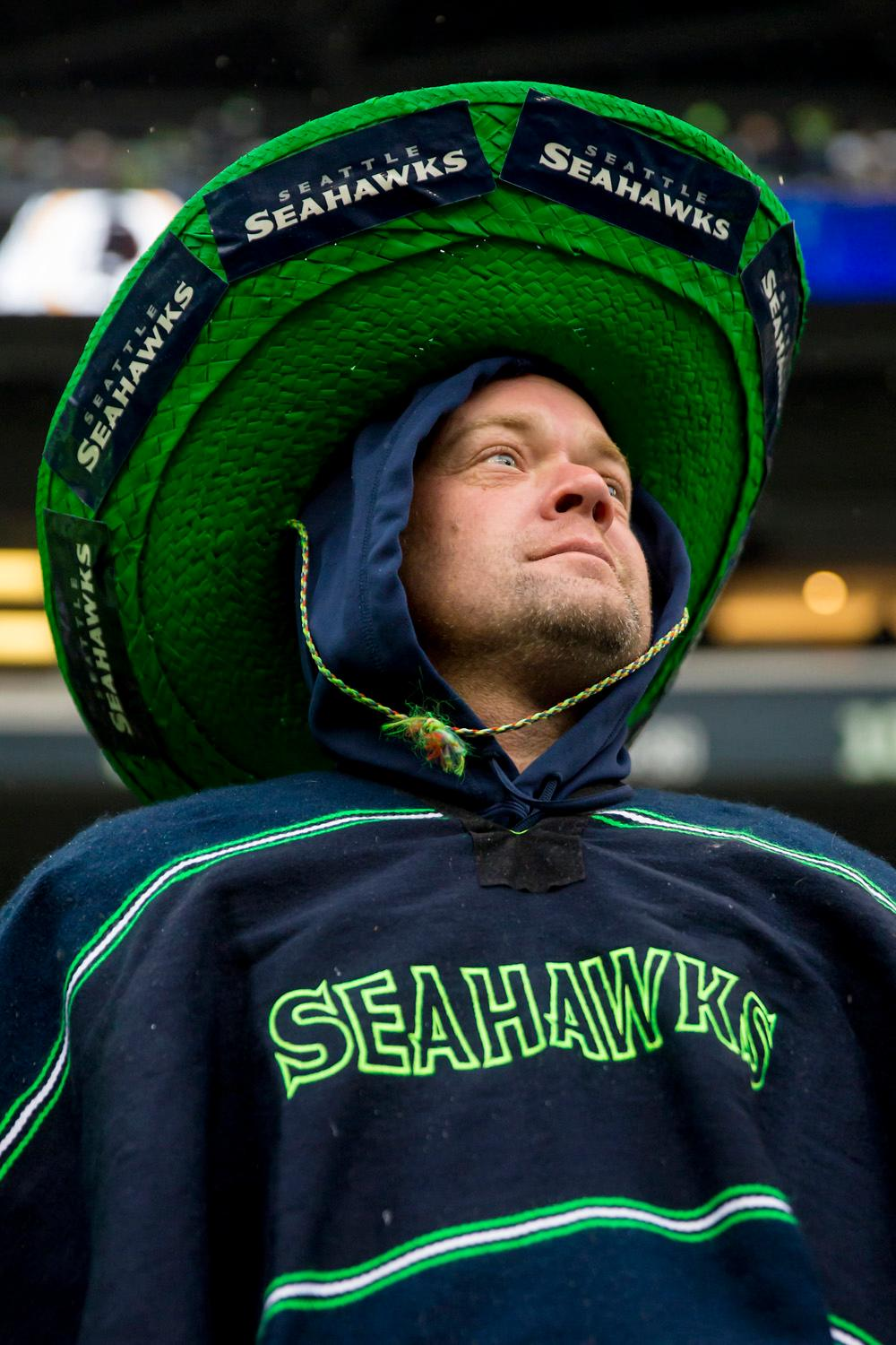 Fans dress in their crazy fan pride as the Seattle Seahawks compete against the Washington Redskins on Sunday, Nov. 5, 2017, at CenturyLink Field. The Redskins lead the half, 7-2. (Sy Bean / Seattle Refined)