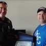 Owasso PD present man certificate for saving child left in hot car