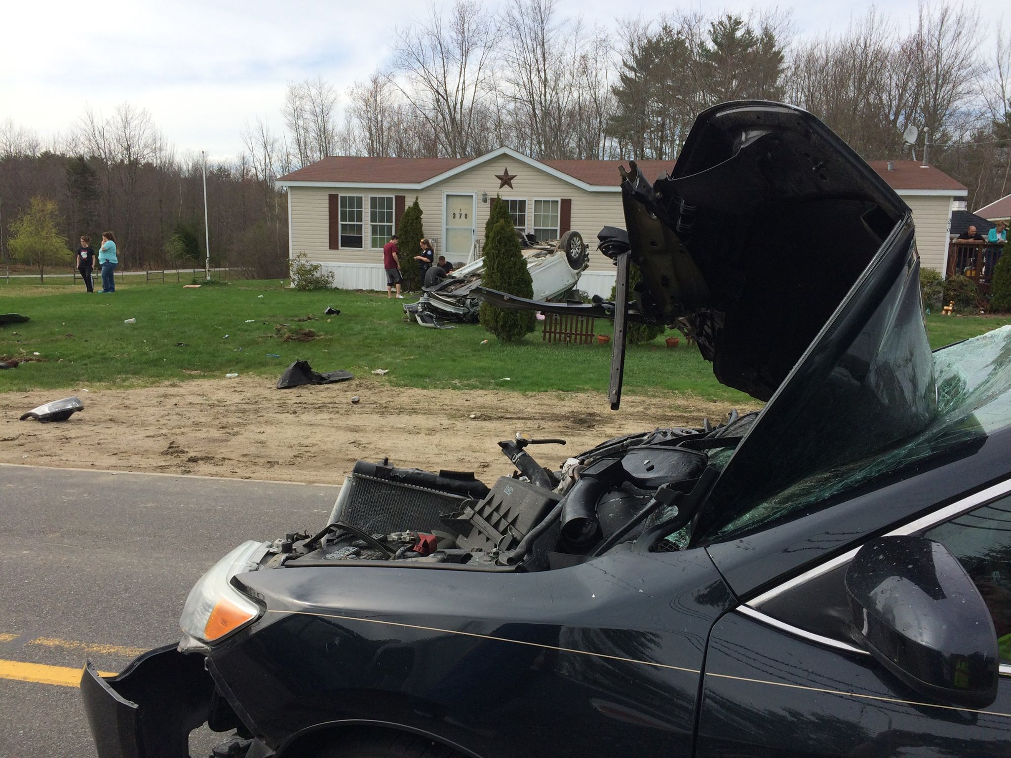 Two people were injured in a two-vehicle accident on Parker Farm Road in Buxton Saturday afternoon. (Buxton Fire & Rescue)