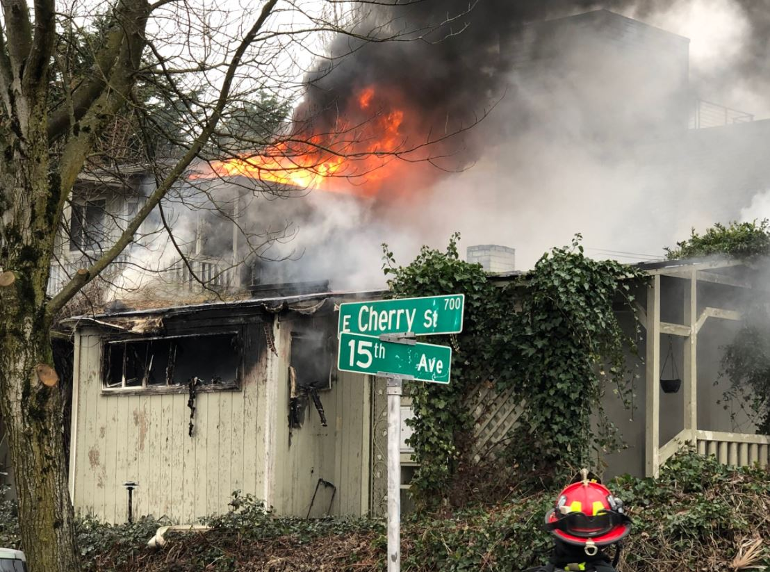 Seattle Firefighters douse a blaze at a building near Seattle University (Photo courtesy Seattle Fire Department){&amp;nbsp;}<p></p>