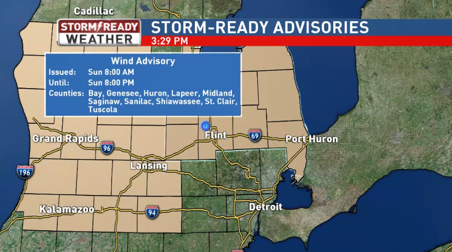 A Wind Advisory is in effect from 8 am Sunday through 8 pm Sunday night.<p></p>