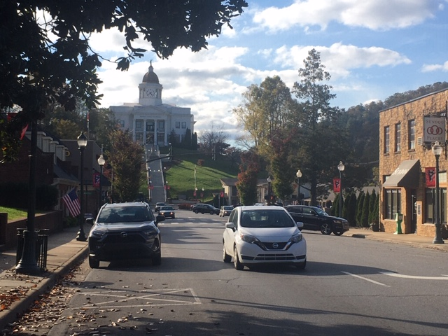 Downtown Sylva, N.C., is a part of Jackson County, which was just one of four N.C. counties in the 2016 general election that split its vote based on party affiliation; the county voted Republican for president and Democrat for governor. (Photo credit: WLOS Staff)