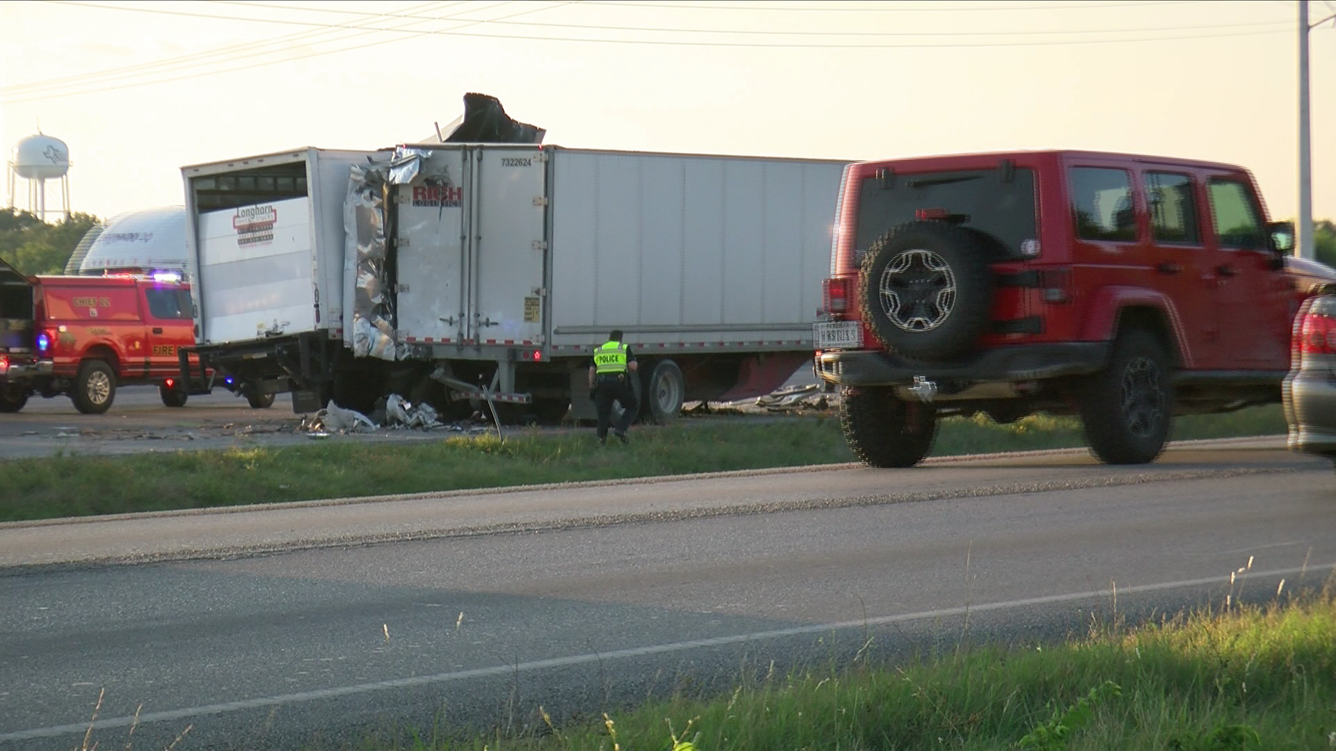 One person is dead after a traffic crash involving a semi-truck on I-35 just south of Kyle. (CBS Austin)
