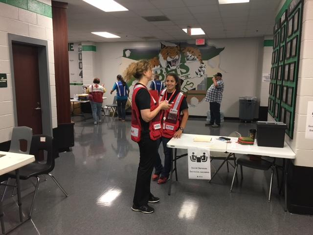 Volunteers at Bluffton High School. Officials said Sunday afternoon there were about 65 people there ahead of Hurricane Irma and plenty of room for more. (WTGS/Robert Catanese)