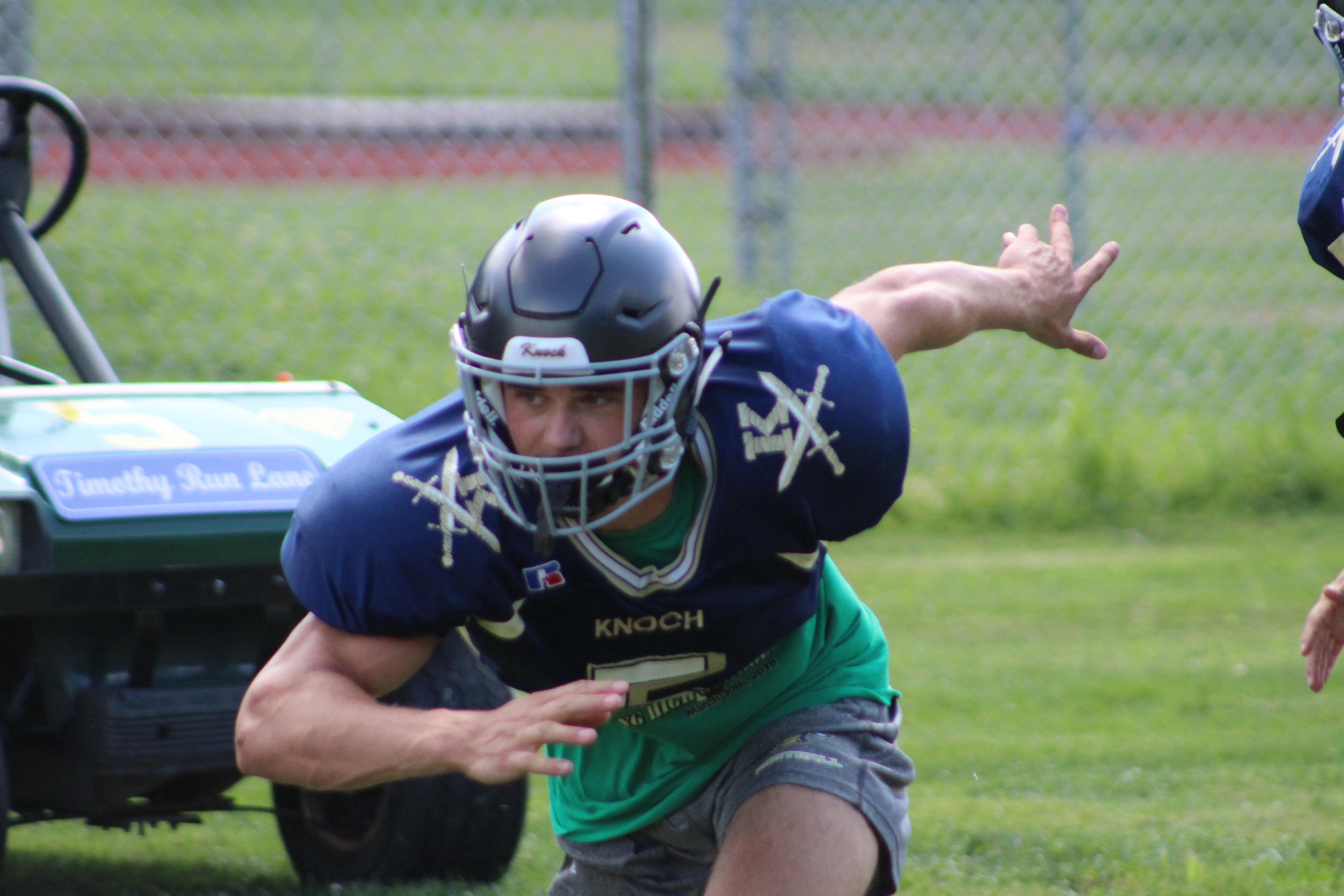 "Knoch High School running back Matt Goodlin breaks out of his stance during an August practice. Watch the AHN Friday Night Rivals powered by IGS Energy ""Kickoff Special"" Aug. 23 at 7 p.m. on 22 the Point."