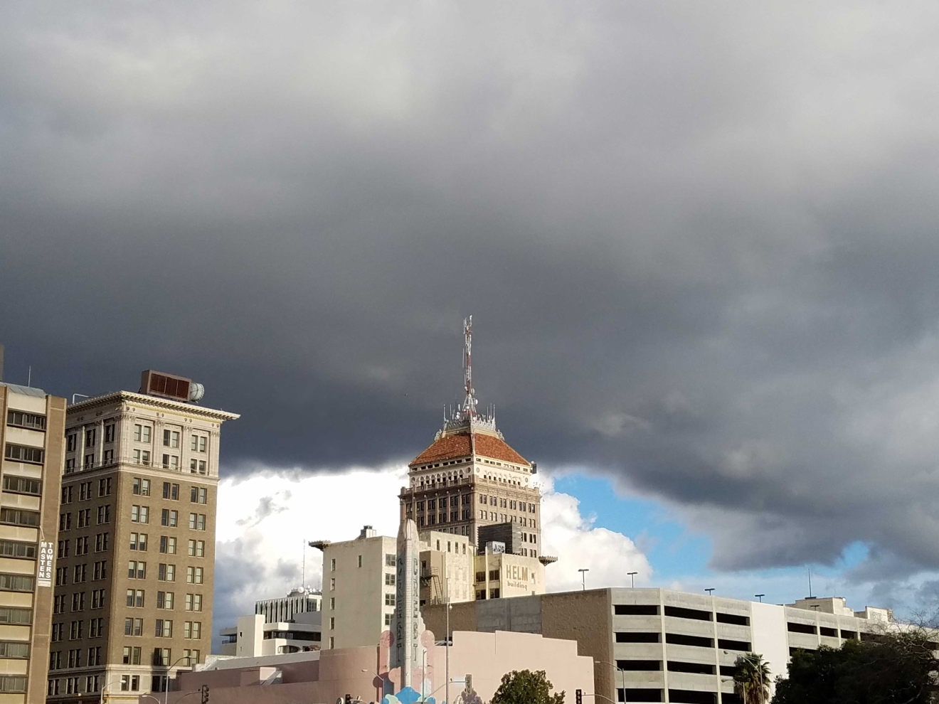 Storm clouds over downtown Fresno by Dorothy Cox 1-23-17