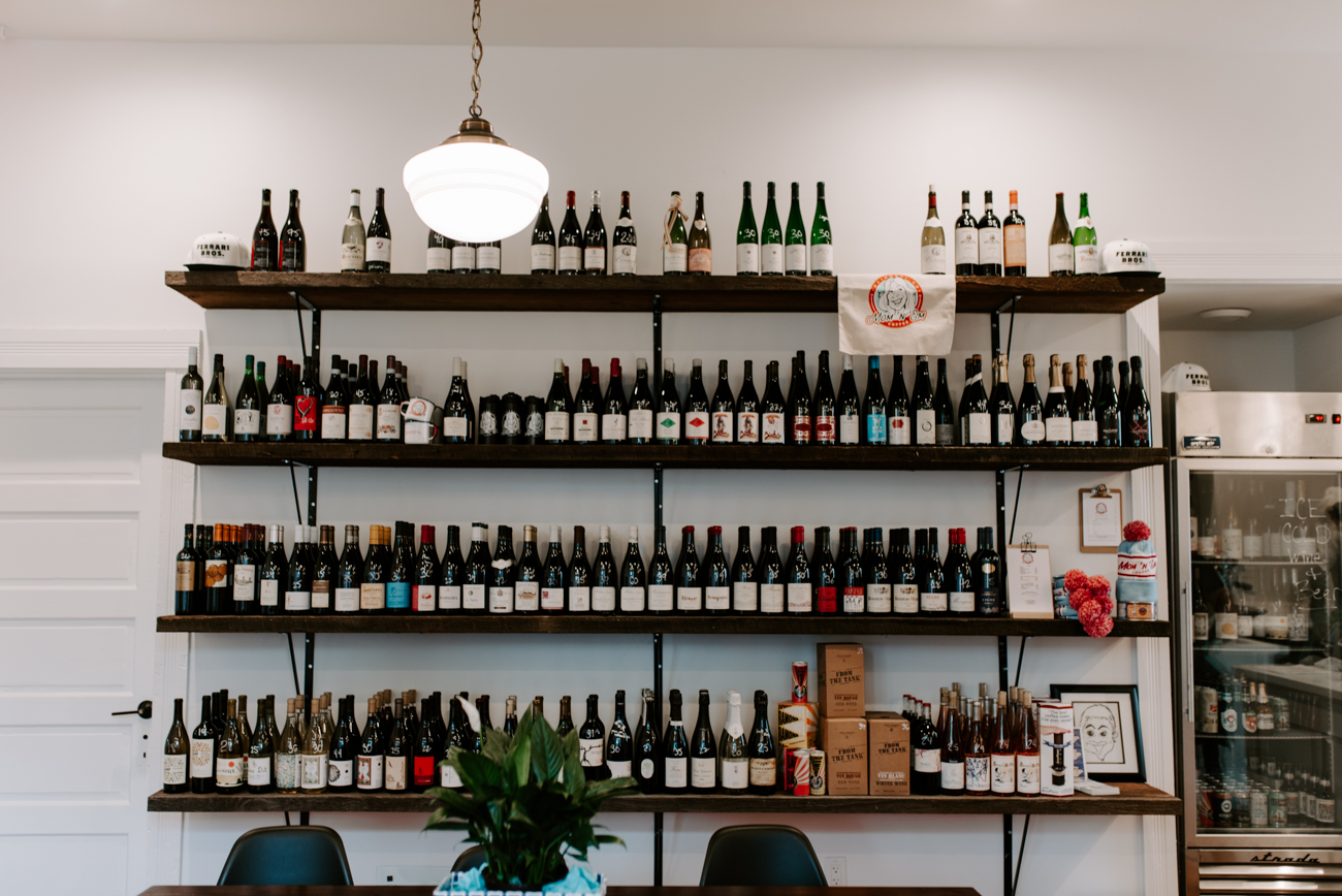 Mom 'n 'Em Coffee serves up an extensive list of wines, as well, focusing on being a wine shop and bar where you can feel like you're at home relaxing. They're open Monday-Friday 7 AM-9 PM, Saturday 8 AM-9 PM, and Sunday 8 AM-6 PM. / Image: Brianna Long // Published: 6.10.19