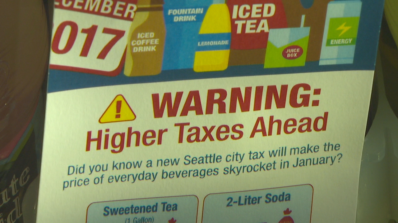 Distributors will now be taxed 1.75/fluid ounce on all sugary drinks sold across Seattle (KOMO News)
